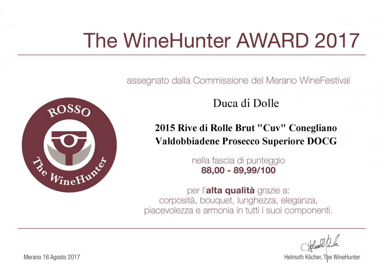 Premio The WineHunter Award CUV